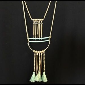 NWT Lucky Brand Gold Layered Necklace Turquoise